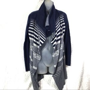 Anthropologie Kaisely grey gray navy blue cardigan